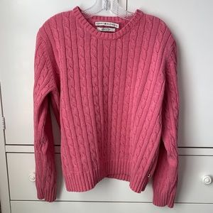 Tommy Hilfiger Pink Cable Knit Cotton Sweater - XL